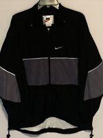 Rare Vintage NIKE  Big Swoosh Mesh Full Zip Windbreaker Jacket 90s Black SZ M