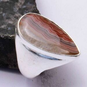 Mexican Laguna Lace Agate Handmade Men's Ring Jewelry US Size-8.5 AR 44100