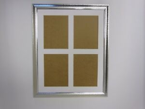 Two Tone Silver Multi Aperture 14x18 Picture Photo Frame Holds 5x7 Photos