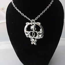Art nouveau style necklace with entwined flowers design and 18 inch chain