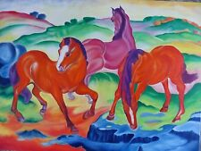 Die drei roten Pferde,nach Franz Marc,Ölgemälde,Reproduktion