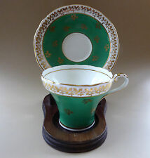 Vtg Aynsley Corset Tea Cup Saucer C880 Green Gold Filigree Scalloped England