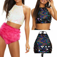 Women Glitter Sequin Tank Tops Halter Cami Vest Camisole Crop Top Party Clubwear