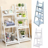 Wooden Ladder Shelf 3/4 Tier Bookshelf Folding Storage Rack Plants Display Stand