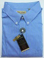 NWT Gold Label Roundtree Yorke Blue Small Check LS Men Shirt Big Tall 3XT 3XB