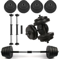 15kg Vinyl Dumbbells Set Gym Free Weights Home Strength Training Aerobic Barbell