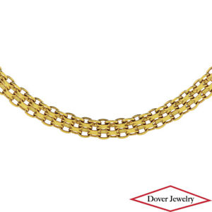 Estate 18K Gold Elegant Woven Cable Link Chain Necklace 13.1 Grams NR