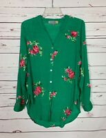 Figueroa & Flower Anthropologie Women's M Medium Green Floral Spring Top Blouse
