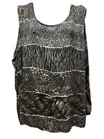 Stunt Women Plus Size 3X 100% Silk Shell Animal Print Gray Beige Flowy Tank Top