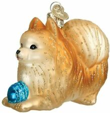Pomeranian with Ball Blown Glass Christmas Ornament by Old World Christmas