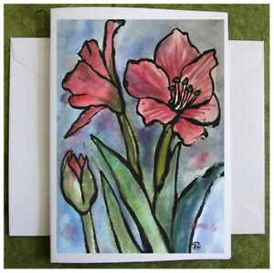 Pink Amaryllis Flowers, Hand Painted Watercolor Greeting Card Original Painting