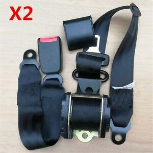 1 Pair Universal Retractable 3 Point Safety Auto Car Seat Belt Lap Diagonal Belt
