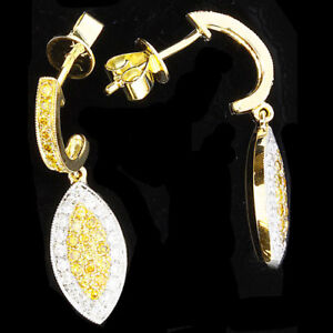 0.70ct Fancy Yellow Diamonds Earrings 18K Canary All Natural 3.20 Grams Marquise
