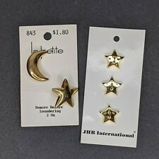 Vintage Plastic Buttons  Gold Moon and Stars JHB International and La Petite 843
