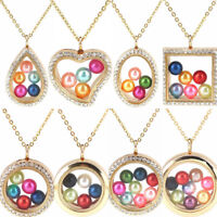 Beads Cage Glass Locket Pearl Cage Floating Pendant Necklace Charms 20 inch