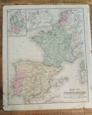 Antique Hand Colored MAP - WESTERN EUROPE / Common School Geography 1873