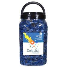 "Celestial Fire Pit Glass 1/2"" Reflective Tempered Crushed Neptune Blue 10 lb Jar"