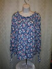 Long Sleeve  Soft Blouses CHAPS size XL,LG,Blue Multi Color Floral NWT