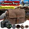 Men's Canvas Leather Camera Bag Shoulder Messenger for Canon SLR DSLR