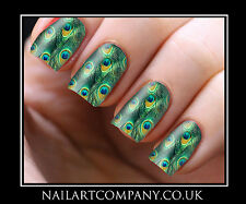 Nail Art Decals Peacock Feather Transfers Stickers Wraps Foils Manicure X 32