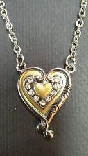 Silver Plated Elongated Heart Pendant Necklace Enamel & Rhinestones