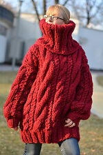 DUKYANA Hand Knitted WOOL sweater no Mohair jumper Thick Pullover CHUNKY Tneck