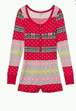 NWT Victoria's Secret Thermal Fireside Romper Onesiee Pajama PJ Cotton Sz large