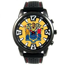 New Jersey US State Flag Mens Style Black Silicone Band Quartz Wrist Watch S661F