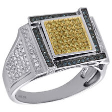 10K White Gold Blue & Yellow Diamond Pinky Ring Mens Statement Pave Band 0.90 Ct