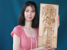 "20"" Saint Spyridon Icon Orthodox Wooden Carved  Medium. Christian Gift."