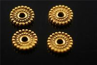 100pcs Golden Rondelle Beads Loose Spacer Craft Jewelry Charms Findings 10mm