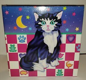 Adorable Vintag 1988 Lisa Frank 3 Ring Binder Kitten Cat Moon Stars School Work