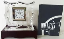 New WATERFORD lead crystal BAMBOO COLLECTION small 3 5/8 DESK CLOCK w WOOD STAND