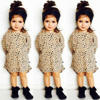 Fashion Kid Baby Girls Leopard Print 3/4 Sleeve Top T-Shirt Party Dress Sundress