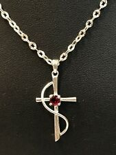 """Sterling Silver 925 Pendant Necklace 20"""" Su Cross with Wrap Wire Red Cz"""