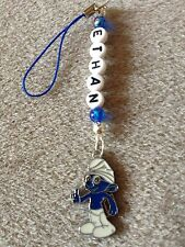 SMURFS BRAINY SMURF  DS MOBILE BAG CHARM PERSONALISED GIFT ANY NAME KITSCH