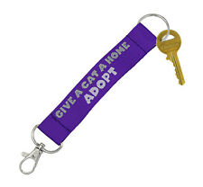 ANIMAL RESCUE CHARITY GIVE A CAT A HOME Keychain Key Chain Ring Lanyard Purple *