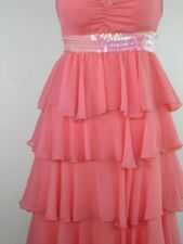 Cha Cha Dance Tier Pink DRESS Sequin Belt Sheer Chiffon Layers Built in Bra S/M