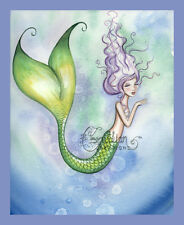 MISS PRISS Mermaid Print from Original Painting By Grimshaw beach sea purple