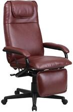NEW HIGH BACK BURGUNDY LEATHER EXECUTIVE RECLINING OFFICE CHAIR