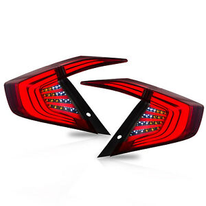 Customized FULL SMOKED LED Tail Lights Assembly fit for 2016-2017 Honda Civic