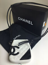 "Chanel White & Black Leather Quilted 'CC' ""Ligne Cambon"" Crossbody Bag"