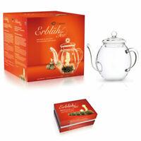 Weißer Erblühtee mit Glaskanne, Weißtee Se,t 6 Teeblumen Kugeln mit Teekanne