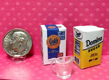 Dollhouse Miniature Food - Flour, Sugar and Tiny Measuring Cup 1:12
