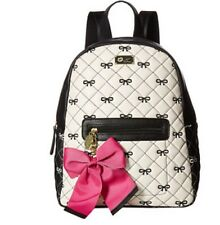 Betsey Johnson Black & White Quilted Bows Backpack Bag NWT AUTHENTIC