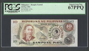 Philippines 10 Piso 1981 P167a Commemorative Uncirculated Grade 67