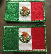 Mexican Flag Embroidered Patch Sew On Lot Of 2