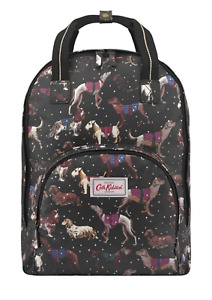 Cath Kidston Dogs Snowy Multi Pocket Backpack Black Colour
