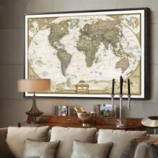World Map Antique Poster Wall Sticker Retro Vintage Matte Kraft Paper Home Decor