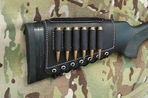 Genuine leather buttstock cartridge holder with suede cheek pad shotgun sleeve